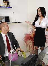 Hot and horny Brandy Aniston checks in on her boss and gets fucked on the table by his big cock.