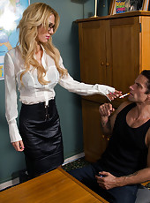 Gorgeous parole officer Sarah Jessie fucks her jail boy into line.