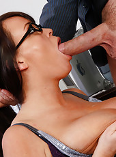 Big breasted office worker decides to suck cock and ride it instead of work