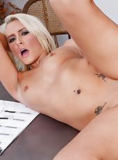 Katie Summers fucks and sucks a hard cock.