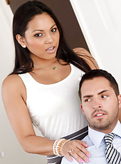 Sexy Adrianna Luna lets her ex- coworker relieve some tension by fucking the shit out her.