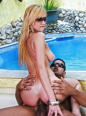 Smoking hot big tits brazilian blonde gets rammed up her ass in these wet poolside anal fuck pics