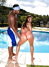 Hot and horny fucking brazilan bikini babe gets fucked hard in her tight ass in these wet pool fucking pics