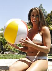 Chanel Preston candid bikini tits