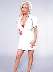 Diamond Foxxx in a nurse uniform