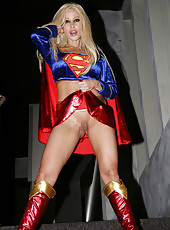 Gina Lynn costumed as Supergirl