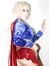 Gina Lynn costumed as Supergirl