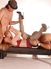 Nina Hartley Bukkake finish for two