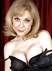 Nina Hartley strips black lingerie