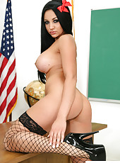 Audrey Bitoni strips in the classroom