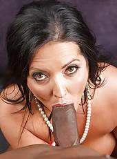 Brunette mom Sammy Brooks in hot interracial cock riding porn