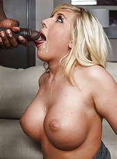 Busty blonde milf Heidi Hollywood fuck her black friend on sofa
