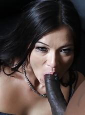 Brunette milf Cece Stone with huge clit love big black cock