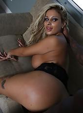 Blonde latina milf Harley Valentine love sucking big black dicks