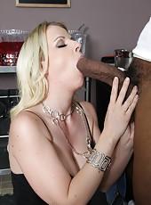 Blonde mom Anita Blue get creampie from monster black cock