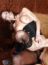 Two hot milf sluts Darla Crane and Veronica Avluv service black guy with huge cock