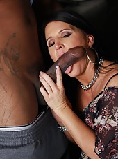 Hot brunette mom Kendra Secrets service huge black dick and drink cum