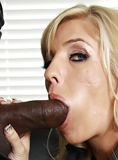 Hot blonde pornstar Jordan Kingsley suck black cock and ride on it