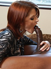 Busty redhead milf Joslyn James sucking black big cock