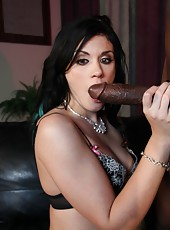 Sexy brunette Andy San Dimas banged by huge black dick and get messy cumshot