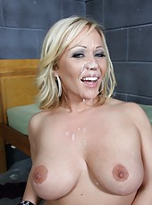 Blonde milf Austin Taylor bang by huge black cock and get messy facial