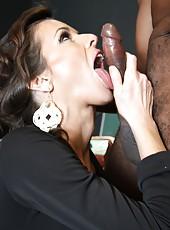 Hot milf pornstar Veronica Avluv riding huge black cock and swallow