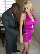 Hot blonde milf Blake Rose love interracial hard sex with ebony big cock guy