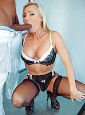 British milf Lisa Demarco in black stockings fucked hard by black guy