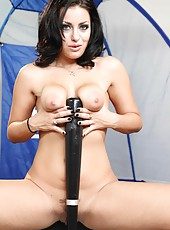 Brunette whore Angelica Raven licks her gorgeous boobs and masturbates