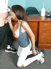 Brunette milf McKenzie Lee gives a hot blowjob and fucks with her new boyfriend