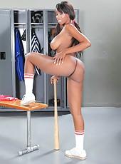 Elegant and naughty ebony babe Codi Bryant masturbates in the locker room