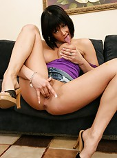 Nasty brunette milf Tory Lane plays with her trimmed pussy and masturbates
