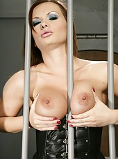Passionate brunette whore Katja Kassin undresses her sexy panties