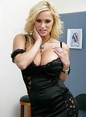 Busty blonde whore Shyla Stylez rubs her gentle pussy and gets pleasure