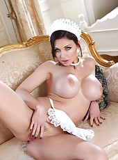 Dangerous and pretty chick Aletta Ocean rubs her gentle pussy and gets pleasure