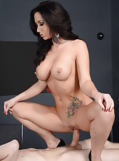 Busty brunette whore Jayden Jaymes shows her boobs and gets a cock