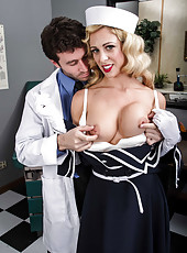 Horny and hot blonde bitch Cherie Deville gives an awesome blowjob