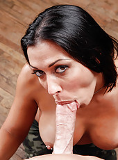 Awesome brunette milf Rachel Starr gets a tasty dick in the sweet mouth