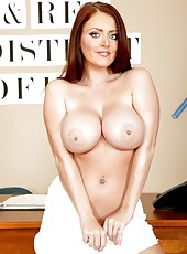 Naughty girlfriend Sophie Dee demonstrates her trimmed pussy and big tits
