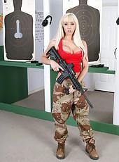 Gorgeous blonde milf in super hot red lingerie Jessica Lynn loves huge guns