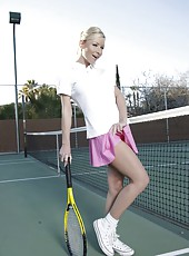 Sexy girl with flawless big tits Helena Sweet gets topless at the tennis court