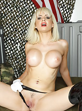 Passionate and busty blonde coquette Margo, one hot pussy and pair of big boobs
