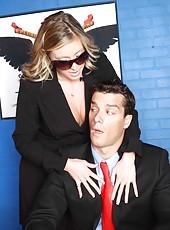 Naughty senator Samantha Saint has sweet time with hot office man