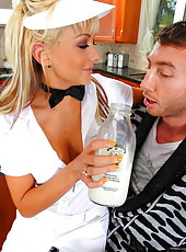 Briana Blair brought some fresh milk, beautiful big tits and tight pussy for lucky boy
