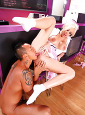 Glamorous waitress with unforgettable eyes and wild big tits Britney Amber fucked hot