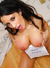 Gorgeous and glamorous brunette Mya Nichole gets her big tits painted with fresh cum