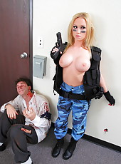 Hot and sexy SWAT agent Madison Scott rescues man with her tight asshole