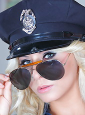 Ambitious sheriff with large tits Madison Ivy takes off her sexy uniform pass by pass