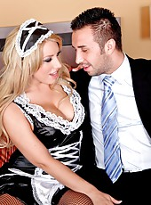 Horny and beautiful maid Heather Summers remains alone with the master of the house