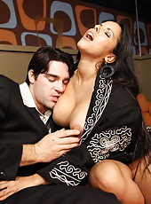 Busty brunette bombshell Diamond Kitty gets in the mouth and in her beautiful pussy